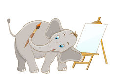 Artist elephant with brush and wooden easel Stock Images