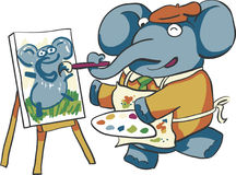 Artist Elephant. Painting a portrait of an elephant Stock Photography