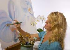 artist female her painting studio Στοκ Φωτογραφία