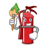Artist fire extinguisher character cartoon. Vector illustration Royalty Free Stock Photo