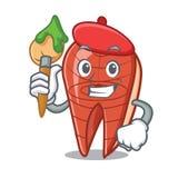 Artist fish slice character cartoon. Vector illustration Royalty Free Stock Images