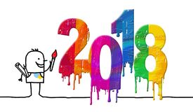 Artist and Fresh Colored 2018 Number Stock Photo