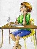 Artist girl waiting for inspiraton. And going to draw something. She is wearing glasses and has cute freckles and short haircut. Pencil drawn sketch, colored Stock Photography