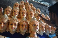 Preparations of nine day goddess festival in India Stock Photos