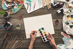artist going to paint royalty free stock photography