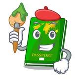 Artist green passport in a character bag. Vector illustration royalty free illustration