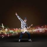 Artist guitarist perform musical concert Stock Photography