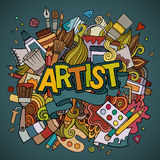 Artist hand lettering and doodles elements emblem Royalty Free Stock Photos