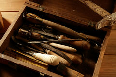 Artist hand tools for handcraft works Stock Image