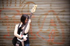 Artist with her instrument Royalty Free Stock Photo