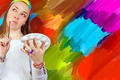 Artist and her painting Stock Photos
