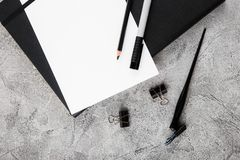 Artist home office desk workspace frame paint brushes and tools on gray background. Flat lay, top view creative minimal. Mock up template. Mockup Download stock photography