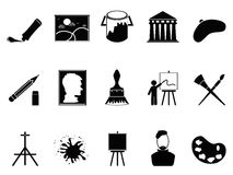 Artist icons set. Isolated artist icons set on white background Stock Photography