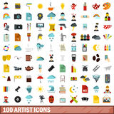 100 artist icons set, flat style Royalty Free Stock Images