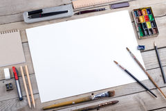 Artist, illustrator or calligrapher workplace Stock Image