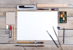Artist, illustrator or calligrapher workplace Royalty Free Stock Images