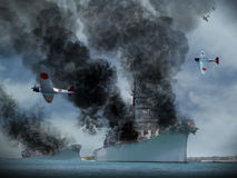 Artist image of Pearl Harbour Attack. Digital Oil Painting of an attack similar to Pearl Harbor in World War 2 Royalty Free Stock Photos