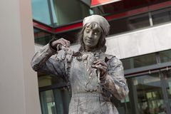 Artist imagines laundress during world championships living statues in Arnhem. Arnhem, Netherlands - September 28, 2014: Artist imagines laundress during world stock photo
