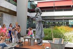 Artist imagines laundress during world championships living statues in Arnhem. Arnhem, Netherlands - September 28, 2014: Artist imagines laundress during world royalty free stock photos