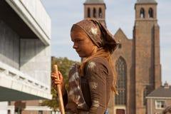 Artist imagines laundress during world championships living statues in Arnhem. Arnhem, Netherlands - September 28, 2014: Artist imagines laundress during world royalty free stock photo