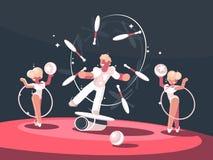 Artist juggler in circus arena Stock Photography