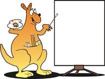 Artist kangaroo cartoon. Happy kangaroo painting a sign Royalty Free Stock Image