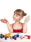 Artist kid girl painting Stock Images