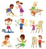 Artist kids children vector set. Stock Photos