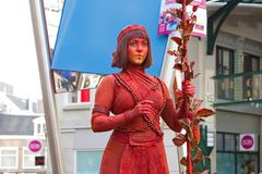Artist lady in red during world championships living statues in Arnhem Royalty Free Stock Images