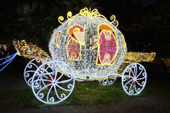 Artist lighs in Salerno. Salerno, Italy - 28 december 2016: Cinderella carriage during the artist lights event in Salerno Stock Photo