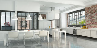 Artist loft kitchen Royalty Free Stock Image
