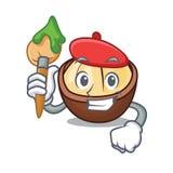 Artist macadamia character cartoon style stock illustration
