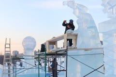 Artist makes transparent sculptures Stock Image