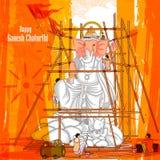 Artist making statue of Lord Ganpati for Ganesh Chaturthi Royalty Free Stock Images