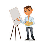 Artist male painting picture with color palette. Vector illustration. Stock Images
