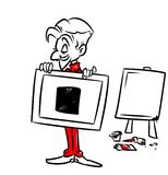 Artist Malevich painting  black square cartoon illustration Stock Image