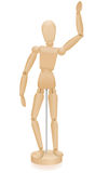 Artist Manikin Waving Lay Figure. Artist manikin - waving lay figure - three-dimensional mannequin with realistic wood grain. Isolated vector illustration over Stock Photos