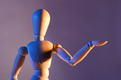 Artist mannequin. Artist's mannequin with blue and orange lighting Royalty Free Stock Photography