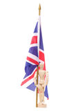 Artist mannequin with union jack flag Stock Images