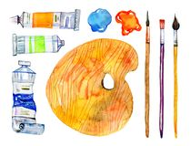 Artist materials - palette, brushes and tubes. Hand drawn sketch watercolor illustration set. Isolated on white background vector illustration