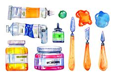 Artist Materials - Palette Knives And Paint Tubes. Hand Drawn Sketch Watercolor Illustration Set Stock Image