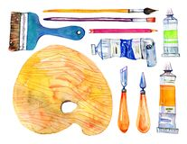 Artist Materials - Palette, Palette Knives, Brushes And Tubes. Hand Drawn Sketch Watercolor Illustration Set Stock Photos