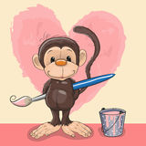 Artist Monkey. Cute Monkey with brush is drawing a heart Stock Images