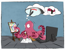 Artist Octopus works hard to be in time till deadline. Artist, illustrator and marine animal Octopus works hard to be in time till deadline. It thinks what dead Royalty Free Stock Image