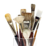 Artist Paint Brush Assortment. Used Artist Paint Brushes on white background Stock Image