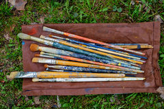 Artist paint brush. The work in the visual arts colorful paint brush, etc Royalty Free Stock Photography