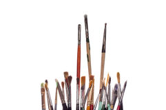 Artist Paint Brushes. Detail view of artist paint brushes, white iso Stock Image