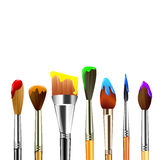 Artist paint brushes isolated on white background Stock Images