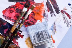 Artist Paint Brushes and Paint Stock Image