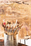 Artist Paint Brushes. Used kit paint brushes in can stock image